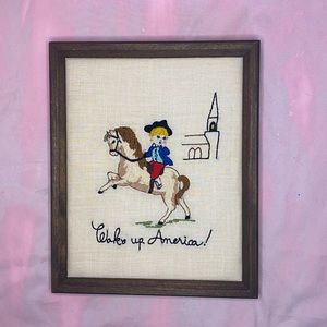 VINTAGE 1970s Wake Up America! Embroidery Wall Art